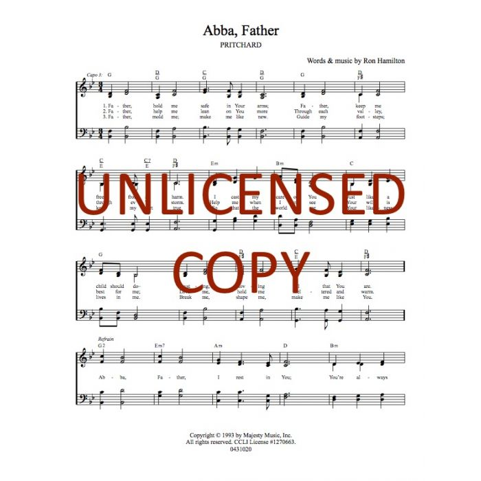 picture about Printable Hymns Sheet Music called Abba, Dad Hymnal Style and design Printable Down load