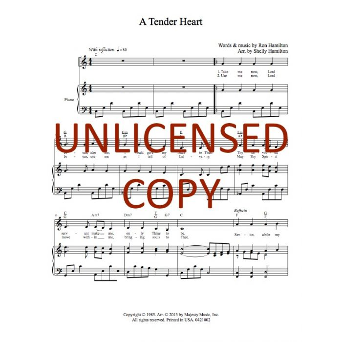 A Tender Heart - Piano/Vocal - Printable Download