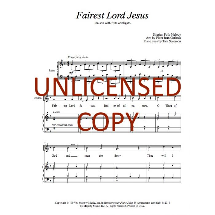 image regarding Jesus Printable identified as Fairest Lord Jesus - Childrens Unison Printable Down load