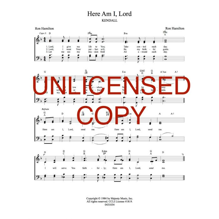 Here Am I, Lord - Hymnal Style - Printable Download