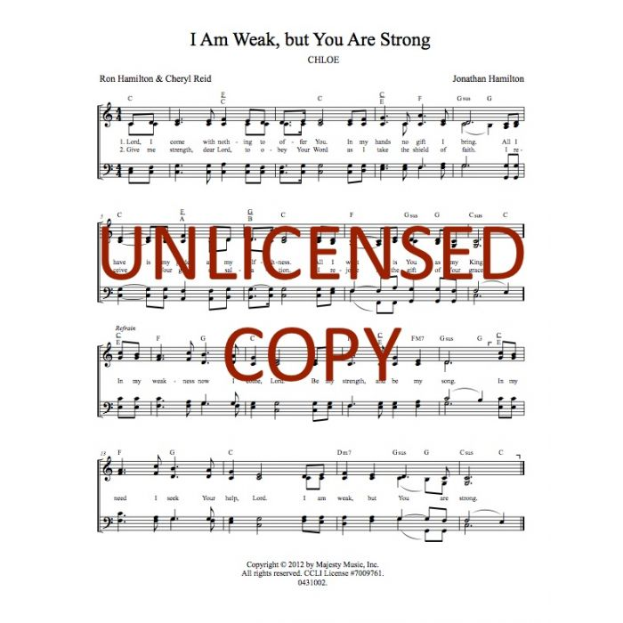I Am Weak, but You Are Strong Hymnal Style Printable Download