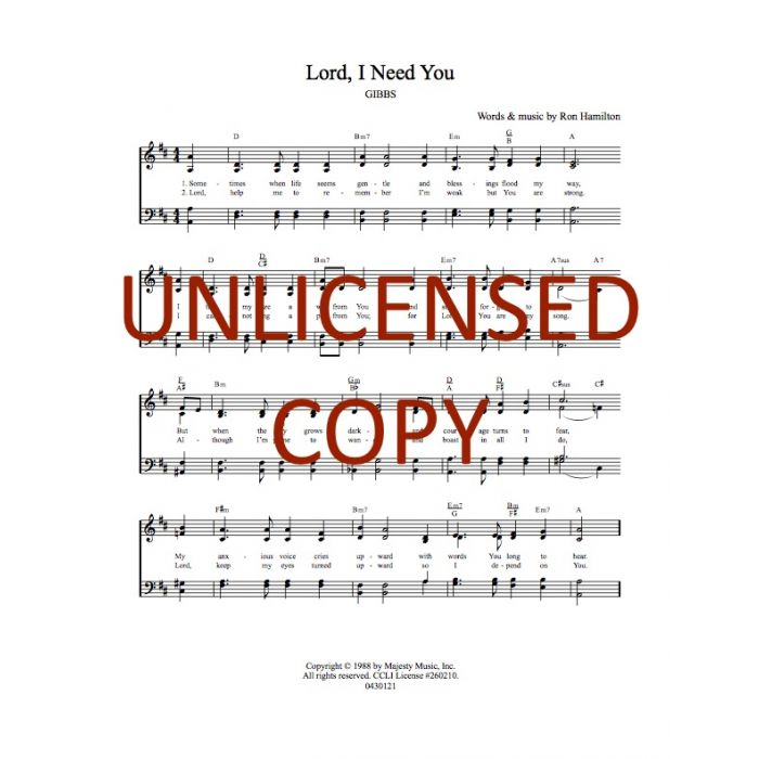 Lord, I Need You Hymnal Style Printable Download