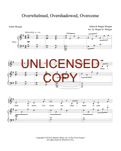 Overwhelmed, Overshadowed, Overcome - Piano/Vocal - Printable Download
