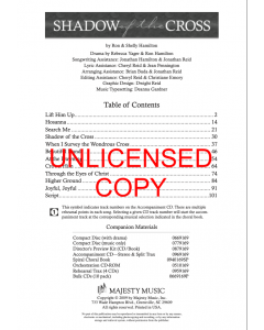Shadow of the Cross - Choral Book (with Easter script) - Printable Download