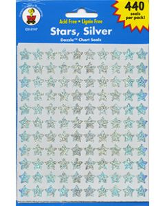 Silver Stars Stickers - (440 per pack) Cannot ship Media Mail
