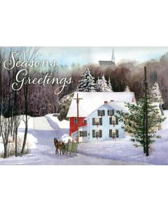 Snow Scene Town - 20 Holiday Cards and Envelopes