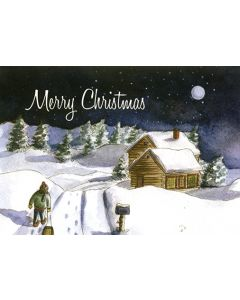 Snow Scene Cabin - 20 Holiday Cards and Envelopes
