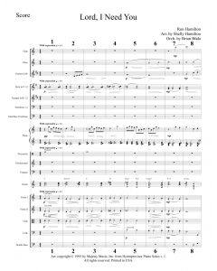 Lord I Need You - Choral Octavo Orchestration - Printable Download